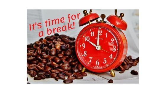 Alarm clock and coffee beans reminding you to take breaks.